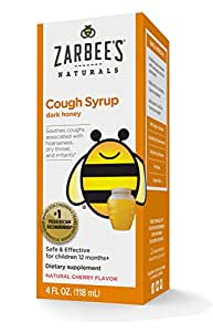 Zarbee's Naturals Children's Cough Syrup with Dark Honey, Natural Cherry Flavor, 4 Fl. Ounces