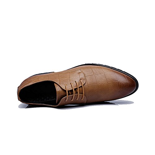 Easy Go Shopping Leather Shoes, Men's Business PU Leather Shoes Classic Lace up Loafers Square Texture Low Top Oxfords Brown