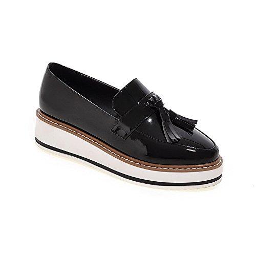 Balamasa Damessleertjes Amerikaanse Muffin Buttom Pull-on Laklederen Pumps-schoenen Zwart