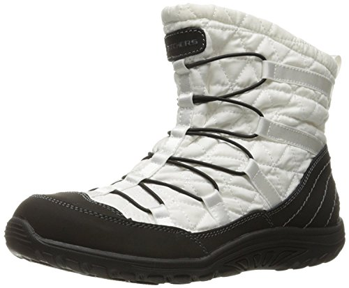(Skechers Women's Reggae Fest Steady Quilted Bungee Ankle Bootie,White/Black,8 M US)