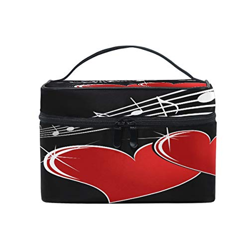 (Xling Makeup Bag Valentine Heart Music Note Cosmetic Case Travel Portable Carry Cosmetic Brush Box Organizer Storage for Girls Women)