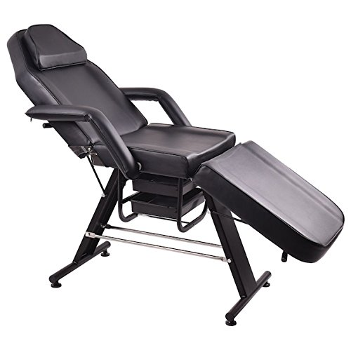 Black Adjustable Massage Salon SPA Chair Beauty Table Tattoo Parlor Facial Bed Multi Purpose Heavy Duty Iron Frame Professional Therapists Back Home Therapy Removable Face Pillow Flexible Style