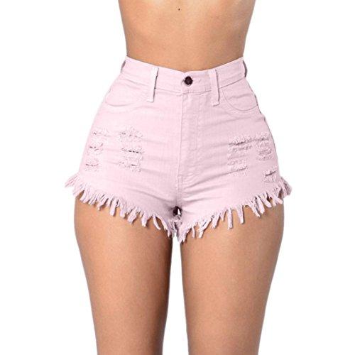 Jeans Pantalones Alta Cintura Tejanos Lhwy Rosado Playa De Corta Elástico Verano Mujer Rotos 5Cqzwf4