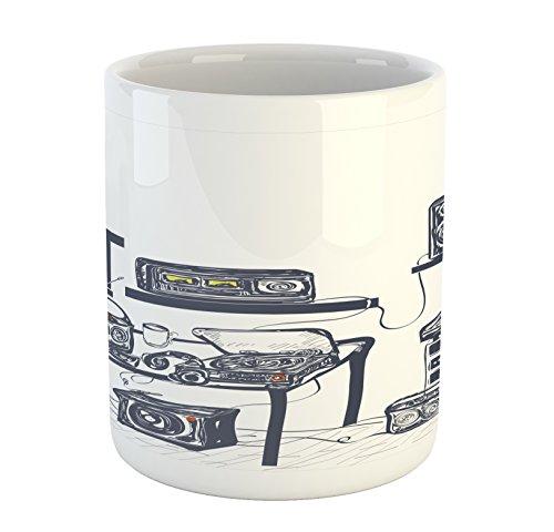 Ambesonne Modern Mug, Recording Studio with Music Devices Turntable Records Speakers Digital Illustration, Printed Ceramic Coffee Mug Water Tea Drinks Cup, Cadet Blue - House Mug Music