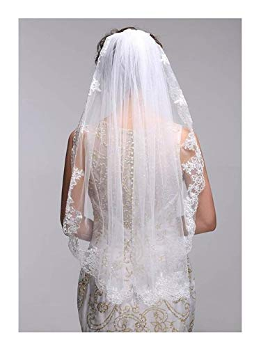 (Olbye Women's Wedding Veil 1T Fingertip Length Lace Veil for Bride Embroidered Veil With Comb Wedding Headpiece (White))