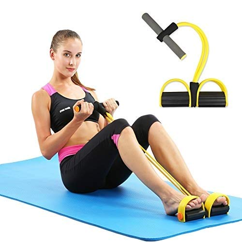 Suhav Pull Tummy Trimmer Roper Home Gym and Waist Reducer Exerciser Resistance Tube with 4 Tubes Bands.