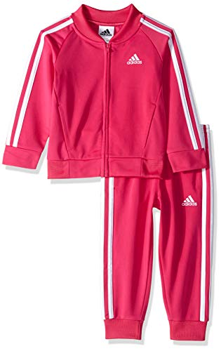 adidas Girls' Little Zip Jacket and Pant Set, Tricot Magenta 6