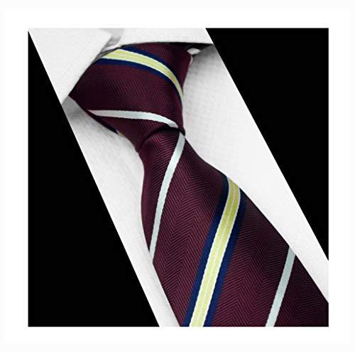 Men Stripe Burgundy Red Yellow White Blue Silk Tie Maroon Autumn Long uk Necktie