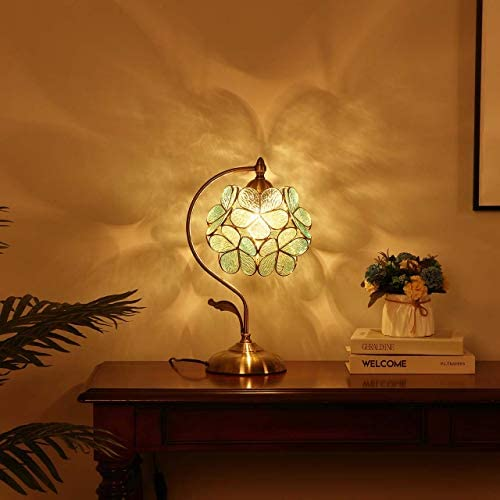 Bieye L10733 Cherry Blossom Tiffany Style Stained Glass Table Lamp
