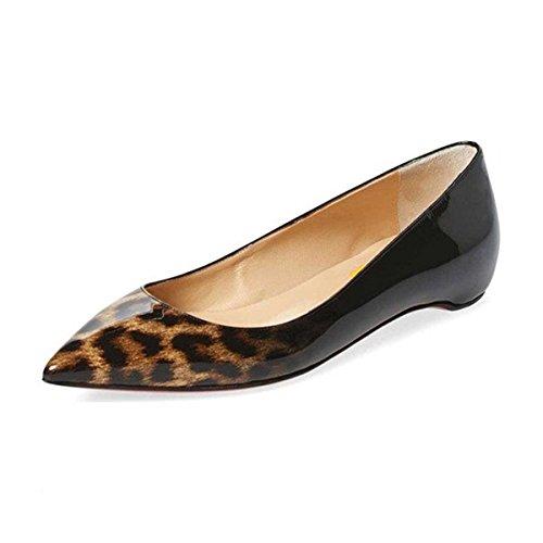 (FSJ Women Sexy Leopard Prints Flats Hidden Low Heels Pumps Closed Pointy Toe Slip On Shoes Size 9.5 Leopard-Gradient)