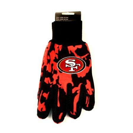 NFL Officially Licensed Team Colored Camo Work Utility Gloves (San Fransisco 49ers) (Ufc Embroidered Beanie)