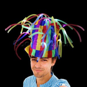 Fun Central AD157 LED Light Up Noodle Hat - Multicolor (Silly Hats)