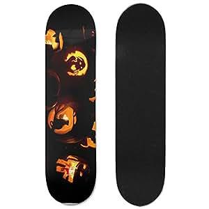 Ghosts And Halloween Pumpkins Maple Deck Skateboard Double-Kick Cruiser Skate Board