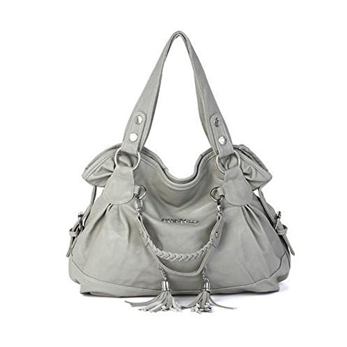 Hynbase Retro Casual Women Tote Handbag Tassel Bag Shoulder Bag Grey (Leather Retro Tote)