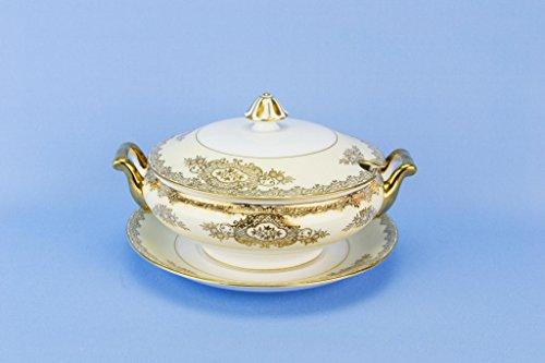 (Noritake Serving Bowl Tureen on Plate Sauce Gravy Dinner Gold Floral Vintage Set Japanese circa 1950 Porcelain)