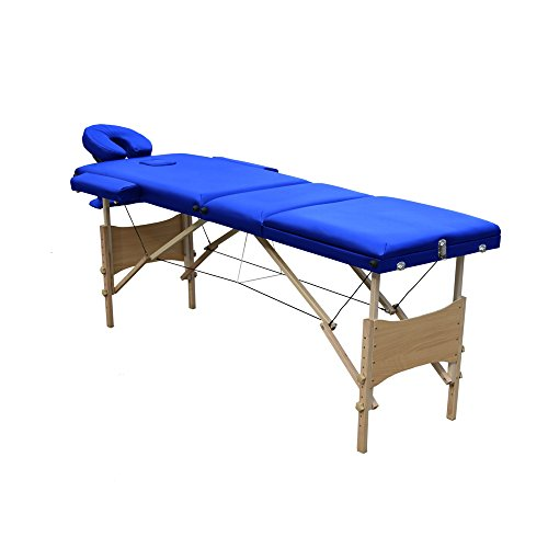 Ireko Cushioned 3 Section Folding Portable Facial Spa Massage Table Bed 82 Inches Blue