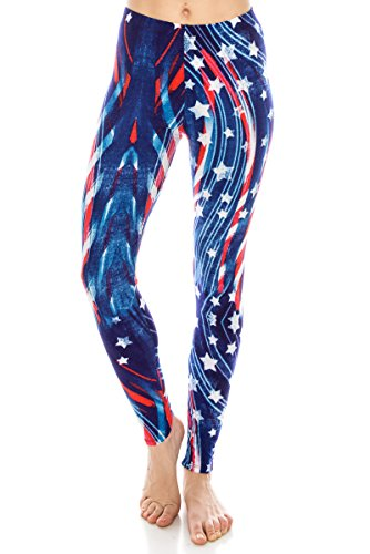 ALWAYS Women Printed Soft Leggings - Buttery Stretch American Flag Regular