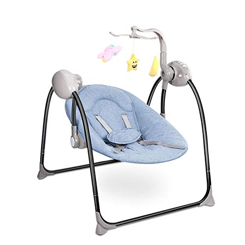 Baby Furniture Baby Nest Bed Smart Baby Electric Cradle with Remote Control Cradle Foldable Baby Swing(Blue) (Color : Blue) by LUOFUSHENG