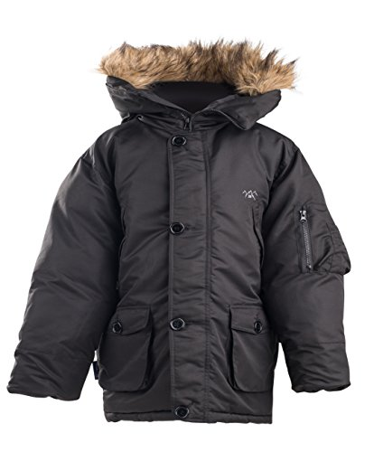 Embroidered Kids Parka - The Polar Club Boys' Parka Winter Coat W/Removable Fur Snorkel Jacket (Black- S/8)