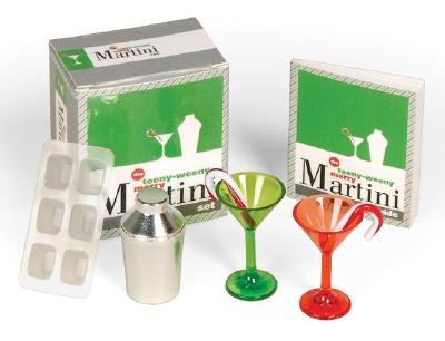 The Teeny-Weeny Merry Martini Set [With Ice Cube Tray, Mini Metal Shaker, 2 Stirrers and Red & Green Tinted Martini Glasses and 32-Pa [TEENY WEENY MERRY MARTINI -OS] ()