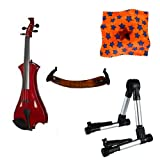 Meisel Electric Violin Pack Red w/Silver Stand, Tuner & Star Rosin
