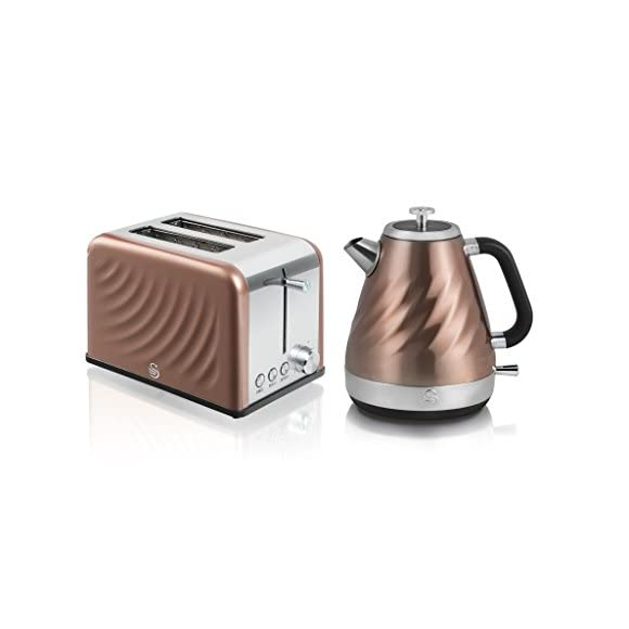 Swan Kitchen Appliance Set - 1.6L Twist Kettle and 2 Slice Twist Toaster - Copper