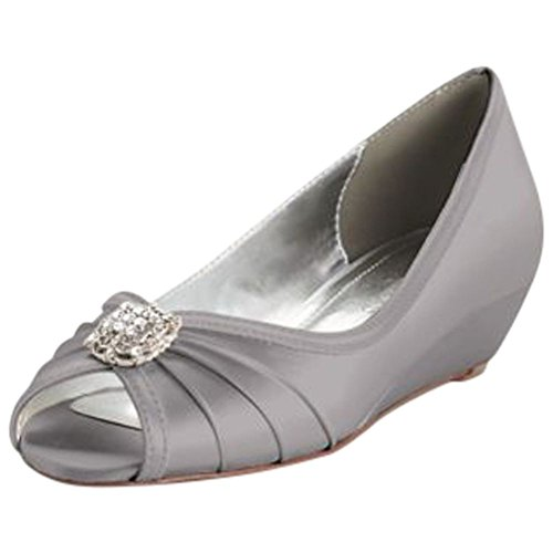 David's Bridal Dyeable Wedge Peep Toe with Rhinestone Ornaments Style KELSEY Mercury big discount cheap online cheap sale sale where to buy cheap real buy cheap fast delivery UIEZ46