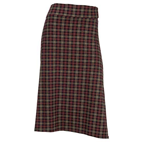 Arianna by Howard's Tan, Red and Black Plaid Midi Skirt (Tan Plaid Skirt)