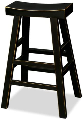 ChinaFurnitureOnline Elmwood Bar Stool, 30 Inches Tall Hand Crafted Asian Zen Style Stool Black Finish