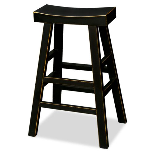China Furniture Online Elmwood Bar Stool, 30 Inches Tall Hand Crafted Asian Zen Style Stool Black Finish
