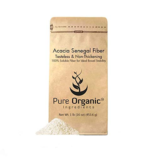 Fiber Plant (Acacia Fiber (1 lb) by Pure Organic Ingredients, Instantly Soluble to Aid Intestinal Regularity and Bowel Motility, Prebiotic, Medicinal Food to Relieve Diarrhea and Constipation.)