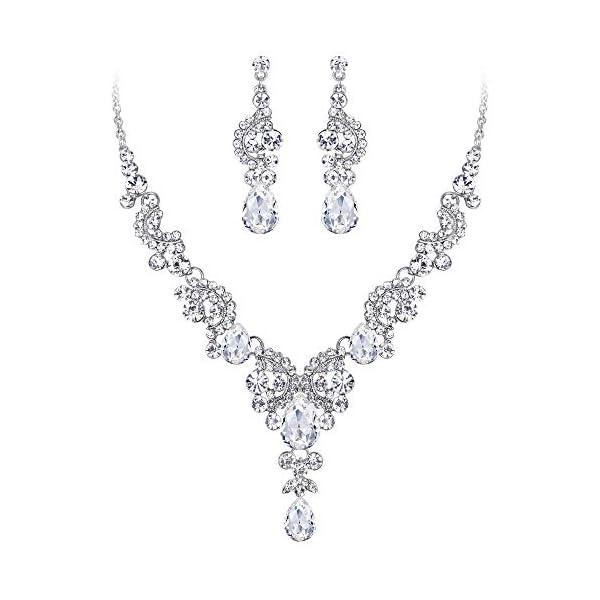 EVER FAITH Austrian Crystal Bridal Floral Wave Teardrop Necklace Earrings Set