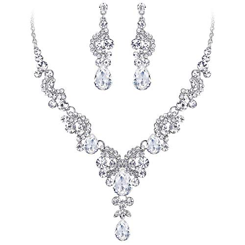 EVER FAITH Austrian Crystal Bridal Floral Wave Teardrop Necklace Earrings Set Clear Silver-Tone (Pendant Floral Victorian)