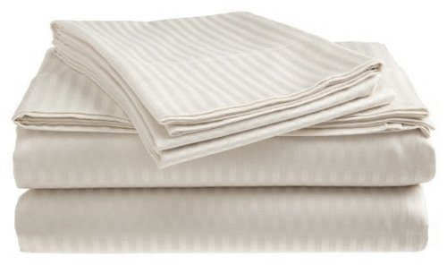King Size 400 Thread Count 100% Cotton Sateen Dobby Stripe Sheet Set -White