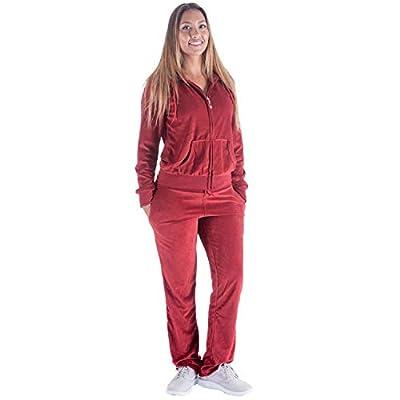 TanBridge Women's 2 Piece Solid Velvet Tracksuit Set Full Zip-up Hooded Sweatshirts & Pants Set at Women's Clothing store