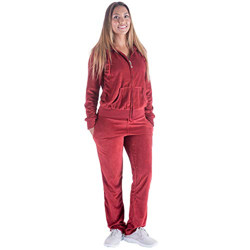 Velour Activewear - TanBridge Women Velour Tracksuit Set 2 Piece Outfit Hoodie & Sweatpants Jogger Sets Wine M