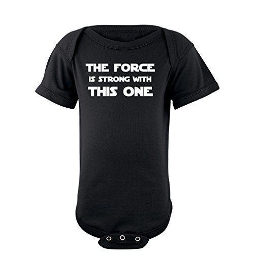 (Cute Funny Nerd Geek Humor The Force is Strong With this One Soft Baby Bodysuit Black 6 Months)