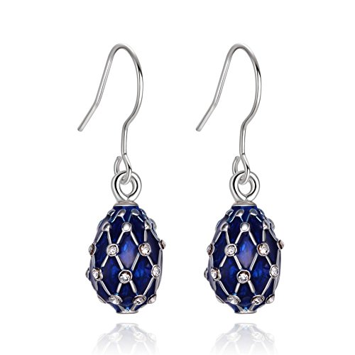 TF Charms® Egg Charm Earrings with Swarovski Crystals Elements,925 Sterling Silver Hooks (Silver Blue)