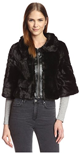 Love Token Women's Ivan Faux Fur Capelet, Black, S by Love Token