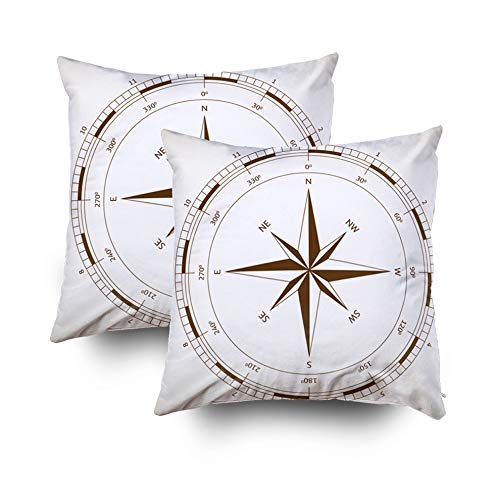 (KIOAO Mudcloth Pillow, Covers Easter Standard Pillow Cases 2Sets 18X18Inch Soft Square Throw Pillowcase Covers Wind Rose Printed with Both Sides)