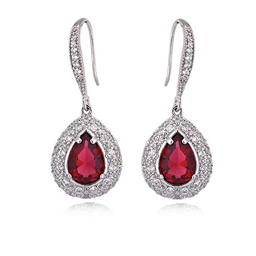 Ruby Dangle Earrings for Women - Silver Bridal Teardrop Red Crystal Cubic Zirconia Rhinestone Drop Earrings for Wedding Party Prom Bride Bridesmaid Birthstone Jewelry Valentine's Day Gift -