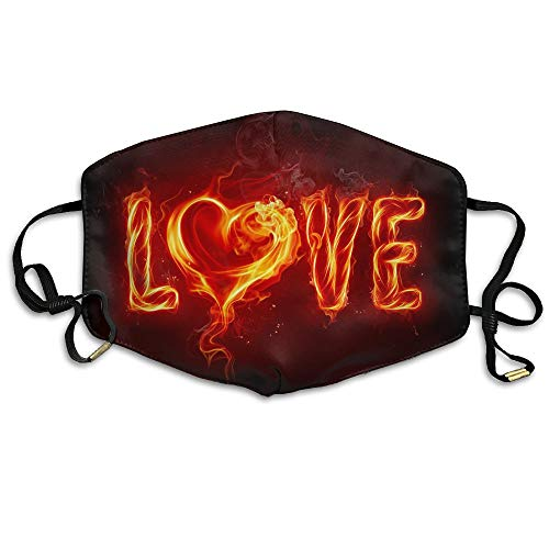 HBLSHISHUAIGE Fire Love Heart Text Adult Fashion Mouth-Masks Washable Safety 100% Polyester Comfortable Breathable Health Anti-Dust Half Face Masks by HBLSHISHUAIGE