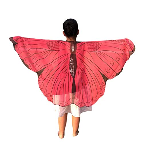 Forthery Halloween Butterfly Wings for Kids, Costume Play Shawl Scarves, Perfect for Halloween Costumes(Medium, Hot Pink)]()