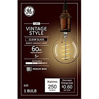 GE Lighting 36518 Clear Finish Light Bulb Dimmable LED Vintage Style G25 Decorative Globe 5 (60-Watt Replacement), 250-Lumen Medium Base, 1-Pack, Soft White