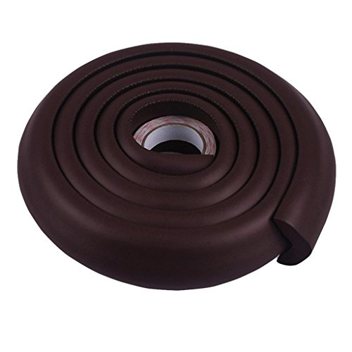 SYGA Baby Safety Strip Furniture Edge Guard Cushion Corner Cover 2 Meter 6.5 feet Tape Infant Bump Protector (L Shape_Brown)