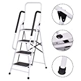 New MTN-G 2 In 1 Non-slip 4 Step Ladder Folding Stool w/ Handrails 330Lbs Load Capacity