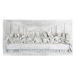 Design Toscano The Last Supper Religious Wall Frieze Sculpture, 23 Inch, Polyresin, Antique Stone