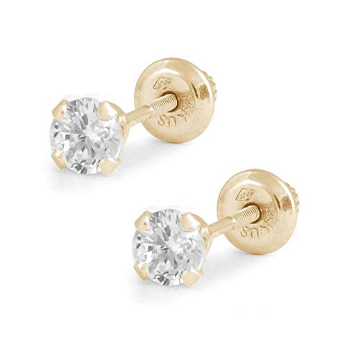 Children And Teens 14K Yellow Gold 4mm Cubic Zirconia 4-Prong Screw Back Earrings