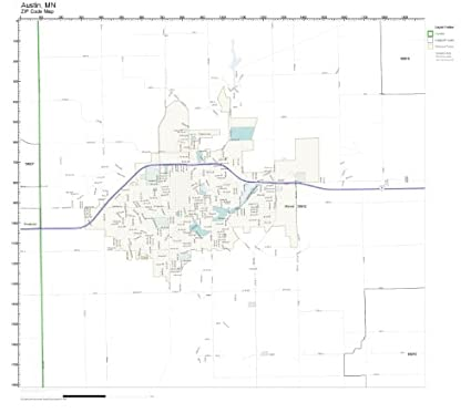Amazon.com: ZIP Code Wall Map of Austin, MN ZIP Code Map Laminated on