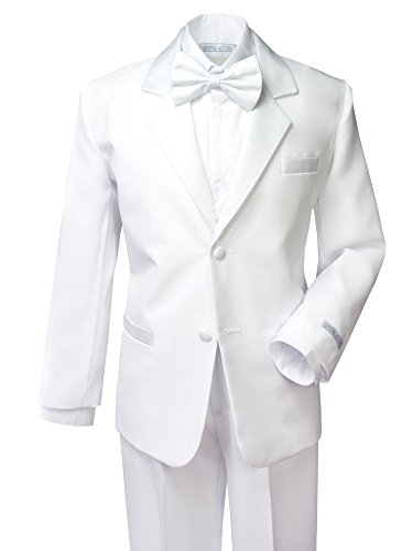 Spring Notion Boys' Classic Fit Tuxedo Set, No Tail 12 White -